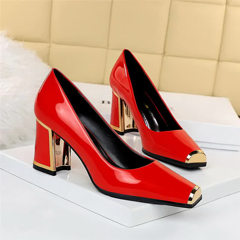 Fashion Women Square High Heels Red Pumps Metal Leather Gray Pumps Apricot Pumps Lady Valentine