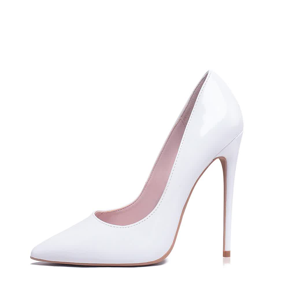 White High Heels Stiletto Pumps Bridal Wedding Shoes Simple Classic Women's SHhoes High-heeled Pumps Shoes