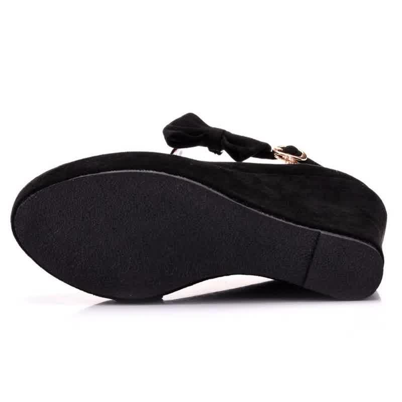 Women High Heels Shoes Fashion Wedges Ladies Platform Buckle Bowtie Pumps For Woman