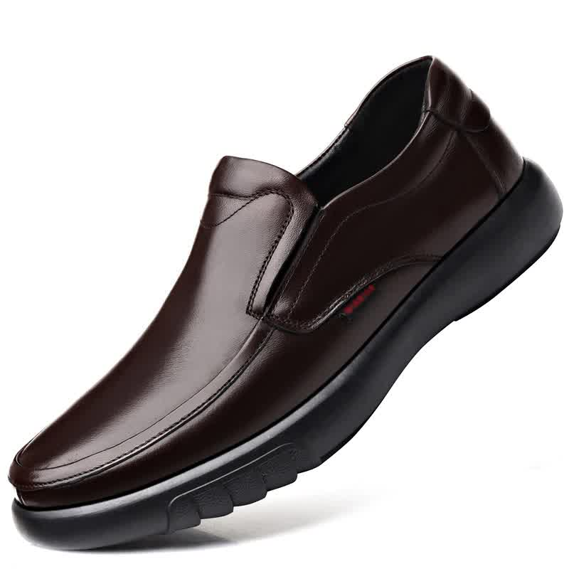 Men's Genuine Leather Shoes  Head Leather Soft Anti-slip Rubber Loafers Shoes Man Casual Real Leather Shoes