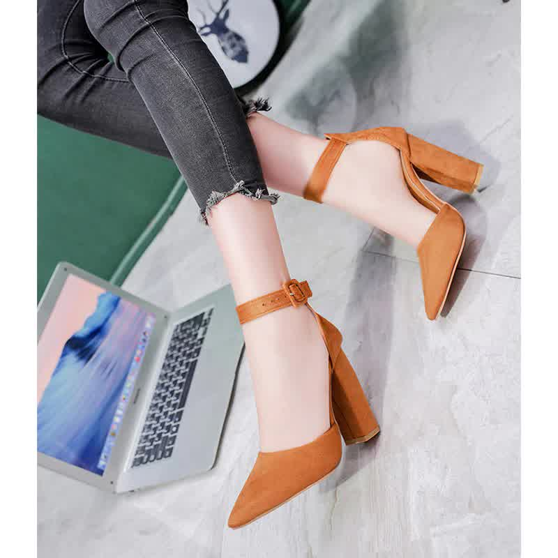 Fashion Ladies High Heels Female Zapatos Mujer Pointed Toe Pumps Women Shoes Woman Party Ankle Strap Pumps  Summer Sandals