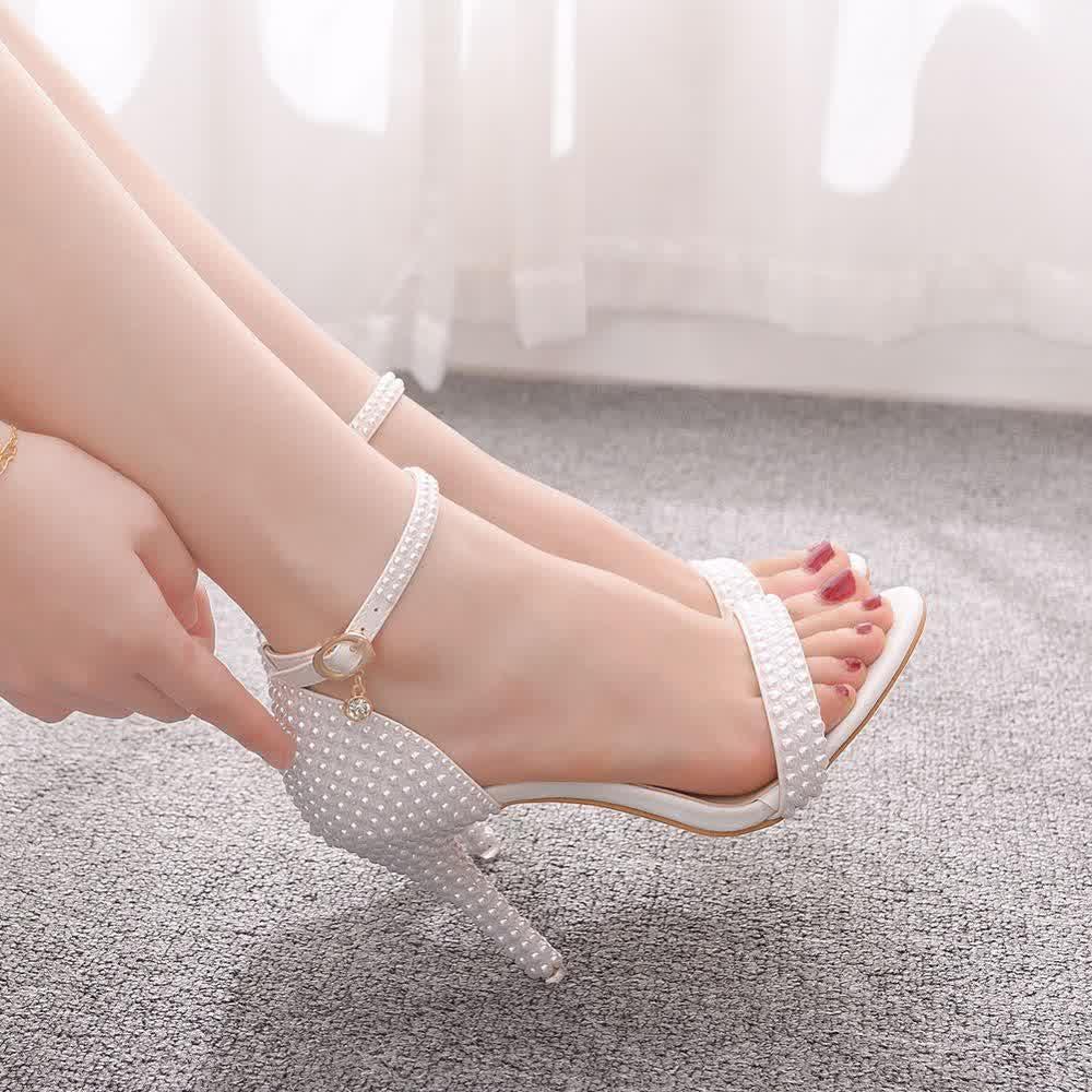 Woman Ankle Strap  Dress Sandals Open Toe High Heels Pumps Female