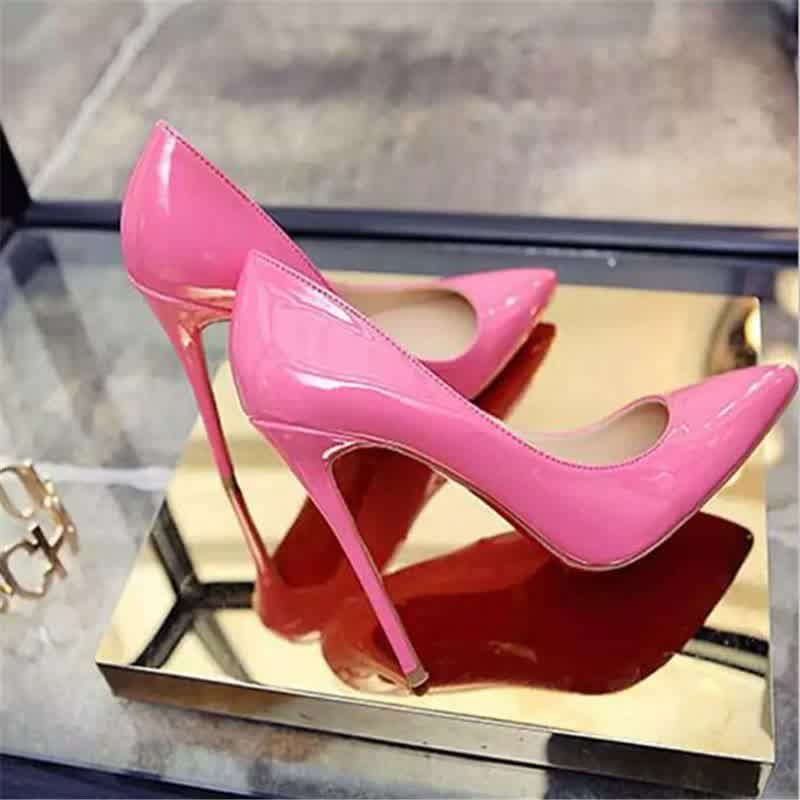 Women Shoes Pointed Toe Pumps Patent Leather Dress High Heels Boat Shoes Wedding