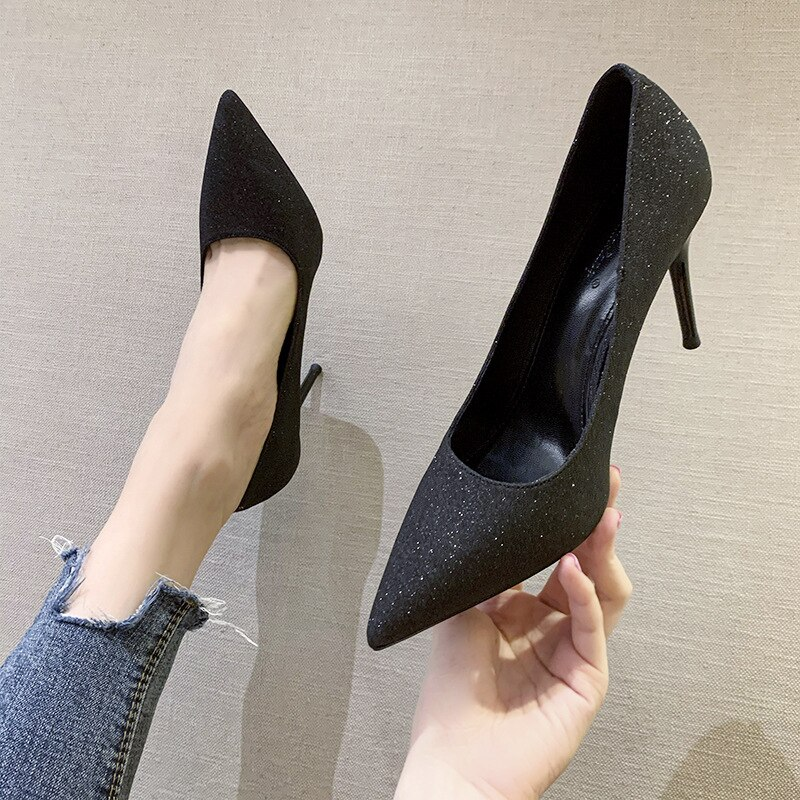 French Style Sexy Shiny Sequin Women High Heels  Ladies