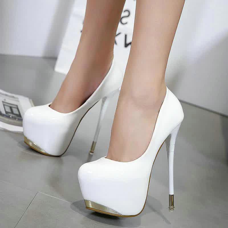 fanshion Women Pumps High Heels Round Toe Sexy Pumps Platform super High Heels Wedding  Party Shoes