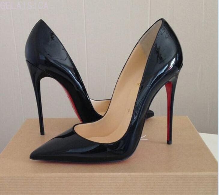 Pumps Brand Women High Heel Shoes Red Shiny Bottom Black/nude Patent Leather Red Wedding Shoes Thin Heel  Without Box