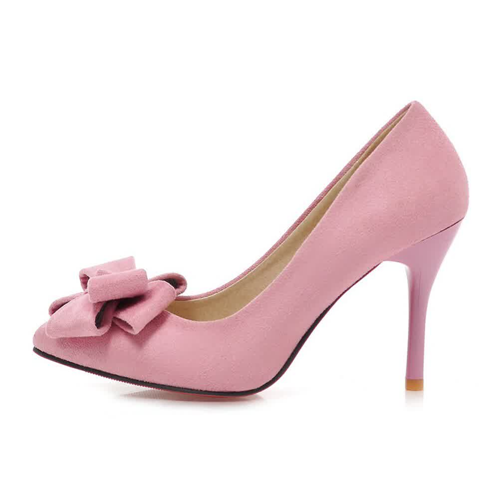 High Heels Women Pumps Bow Thin High Heels Latest Shoes Sweet Pointed Toe Shoes Lady