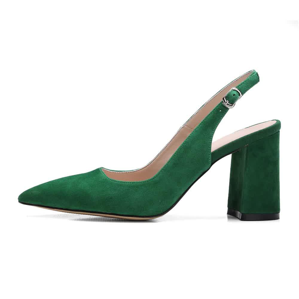 High Heels Women Shoes Kid Suede Square High Heels...