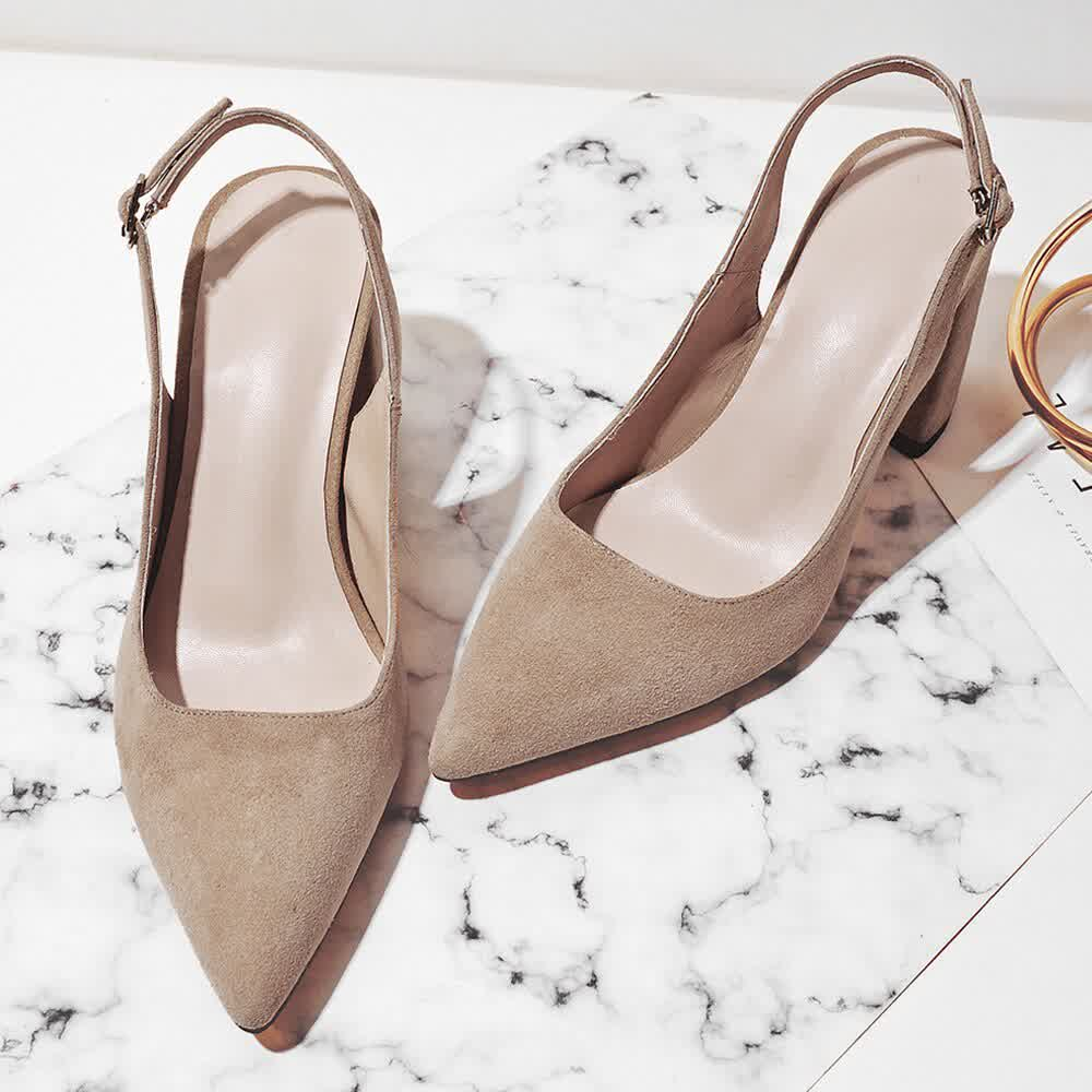 High Heels Women Shoes Kid Suede Square High Heels Party Shoes Pointed Toe Pumps