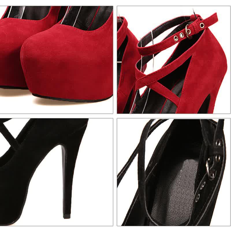 Woman Pumps Cross-tied Ankle Strap Wedding  Shoes Platform Dress Women Shoes High Heels