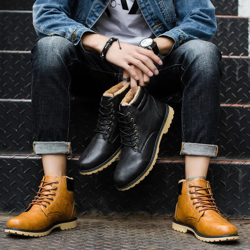 New Quality PU Men Winter Leather Boots Fashion Short Plush Waterproof Ankle Bootie Male High-tops Shoes