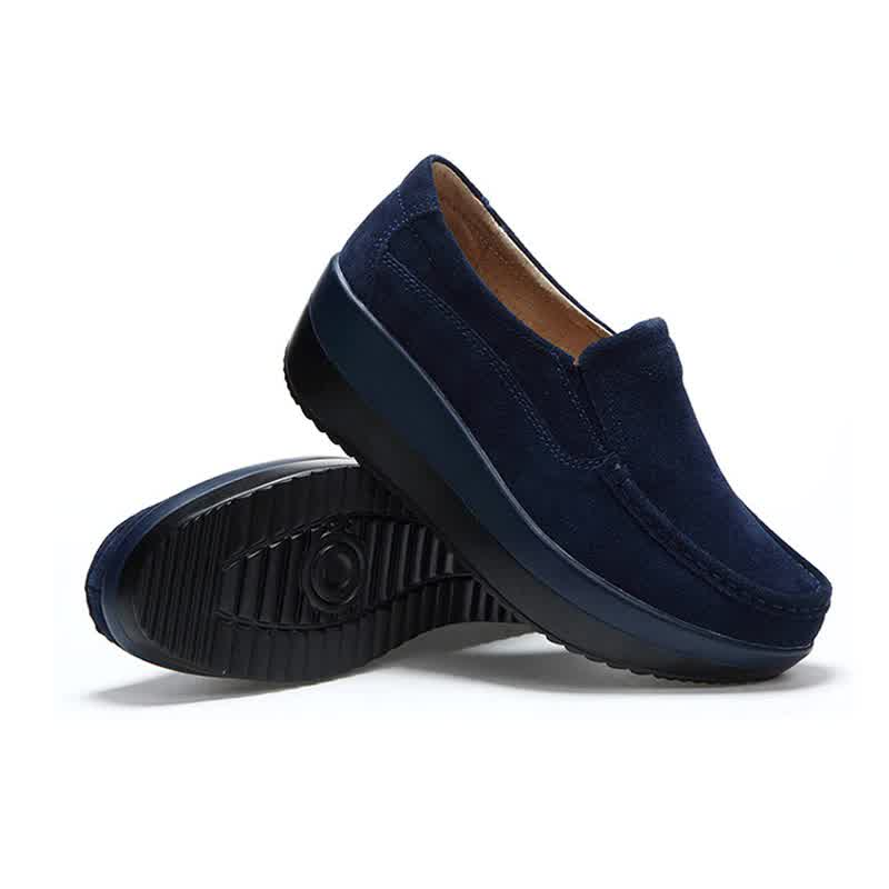 NewSpring Autumn Shoes Woman Platform Women Shoes Cow Suede Leather Flats Thick Sole
