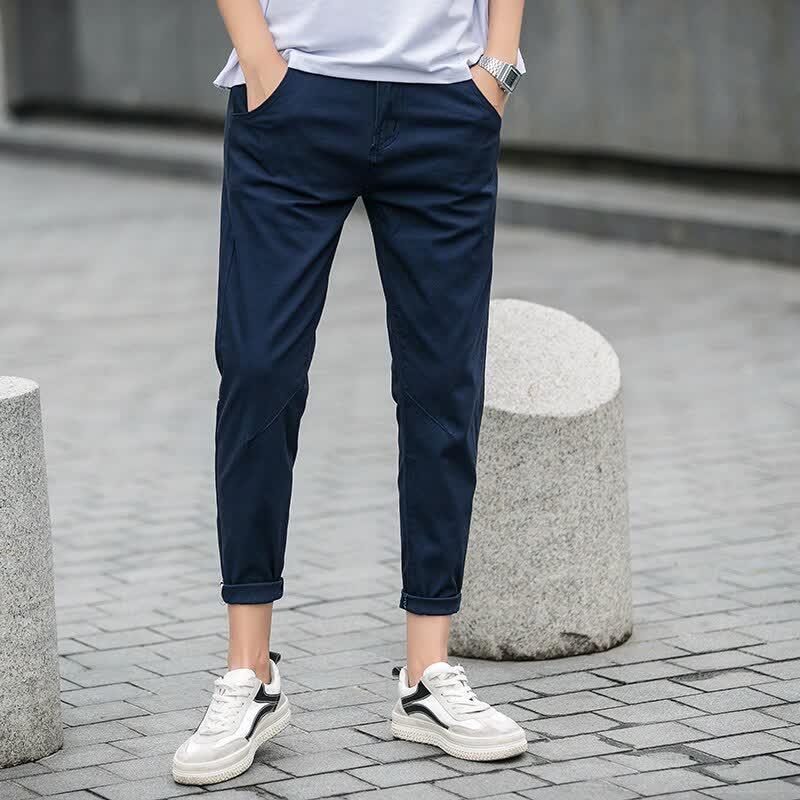 Men's cotton elastic casual pants men solid color ...