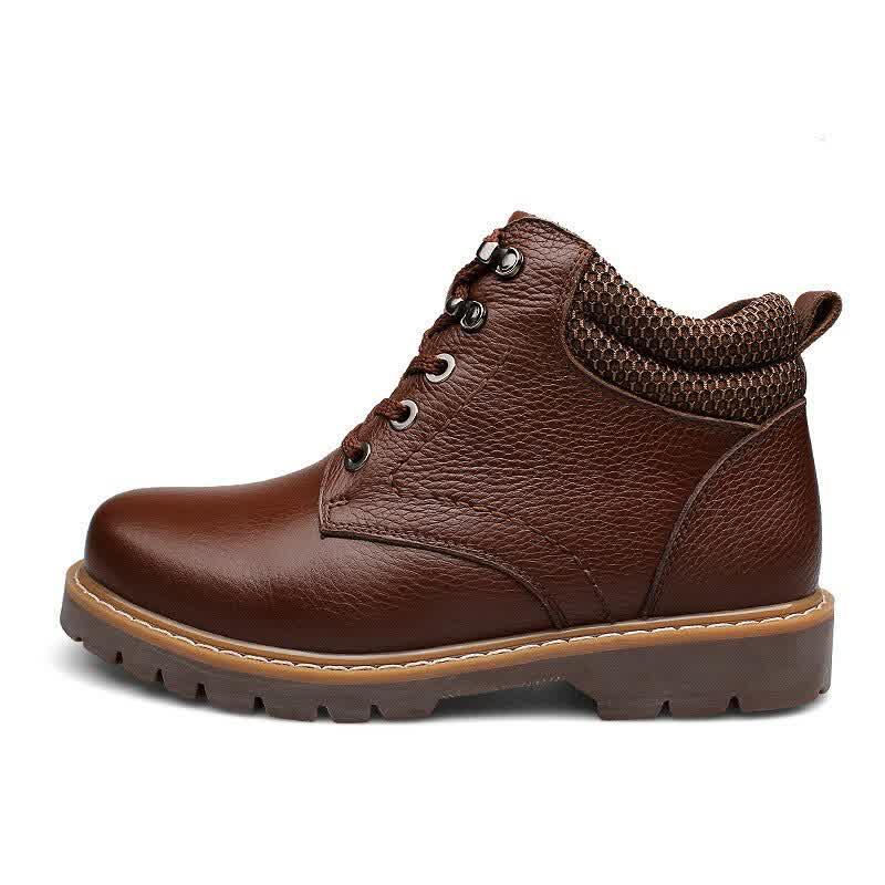 Fashion Men Boots Plus Velvet Genuine Leather Quality Snow Winter Boots