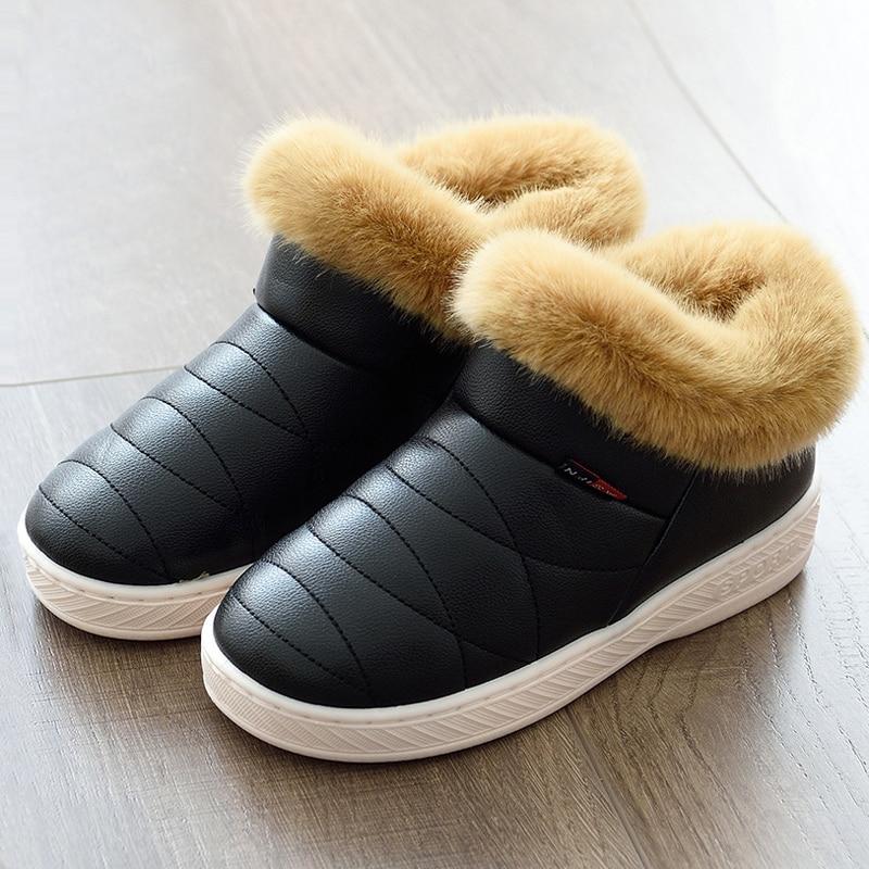 Men Women Plush Slippers Furry High Top Winter Warm Fur Shoes