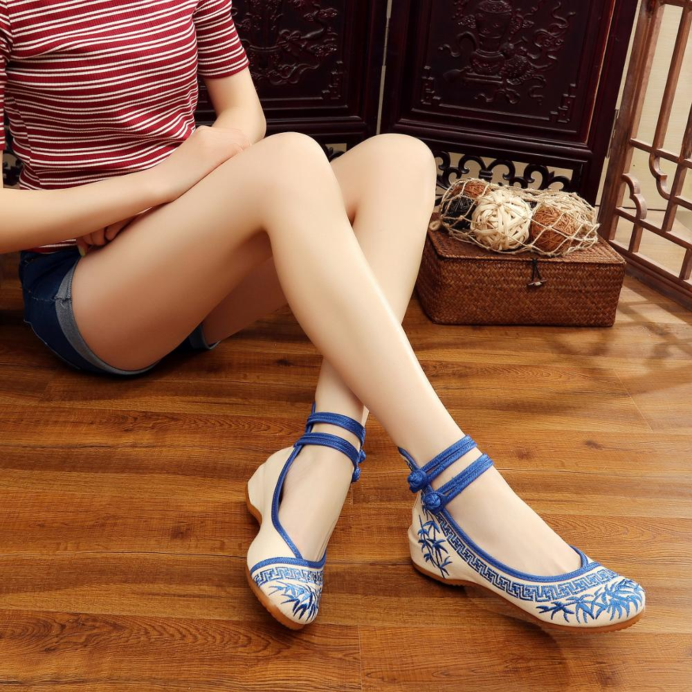 Handmade Fashion Women Ballerinas Dancing Shoes Chinese Flower Embroidery Soft Casual Shoes Cloth Walking Flats