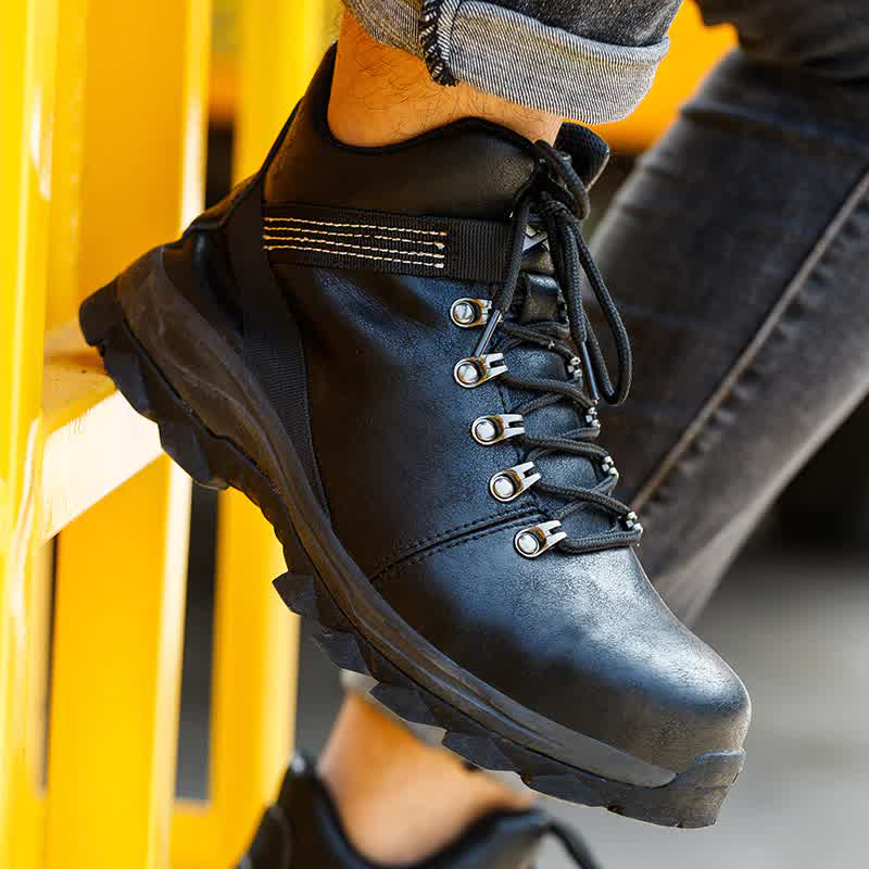 Indestructible Work Safety Boots Men Leather Shoes Winter Boots Waterproof Work Boots Men Shoes Safety Puncture-proof Work Shoes
