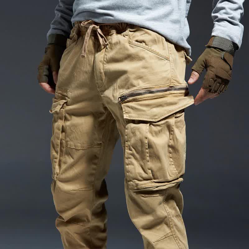 Ankle Length Cargo Pants Men Joggers Elastic Waist...