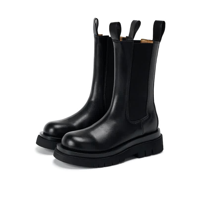 New Autumn Winter Women Chelsea Boots Thick-soled Soft Leather Women Platform Casual Boots Fashion Female Flat Boots