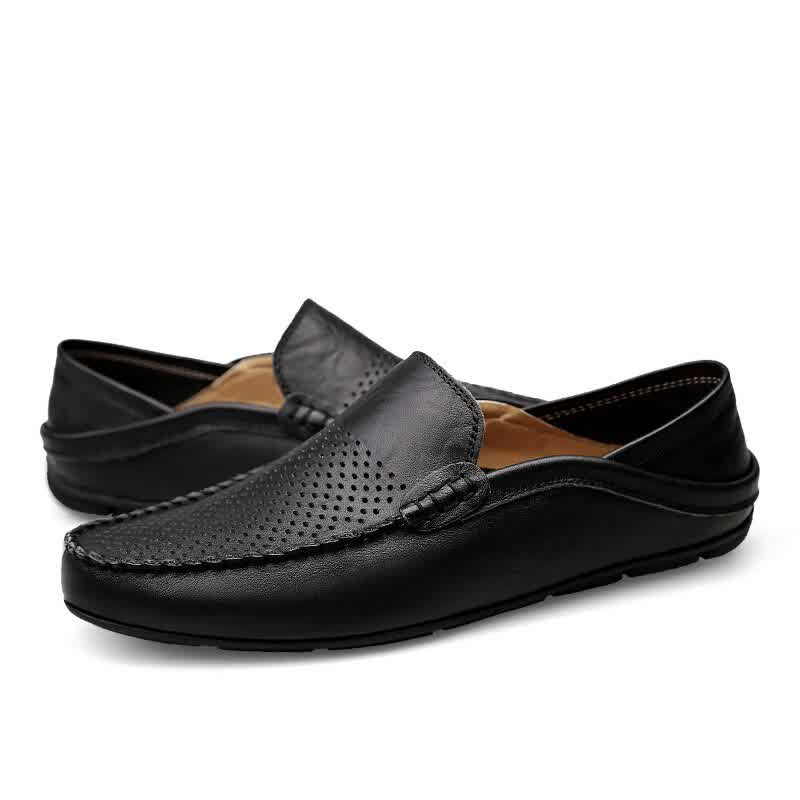 Mens Shoes Casual Summer Men Loafers Genuine Leather Moccasins Light Breathable Slip on Boat Shoes
