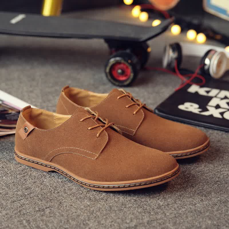 Mens Oxford Suede Shoes Men Leather Dress Shoes Lace Up Flats Male Casual Shoes Comfortable Footwear Loafers Men