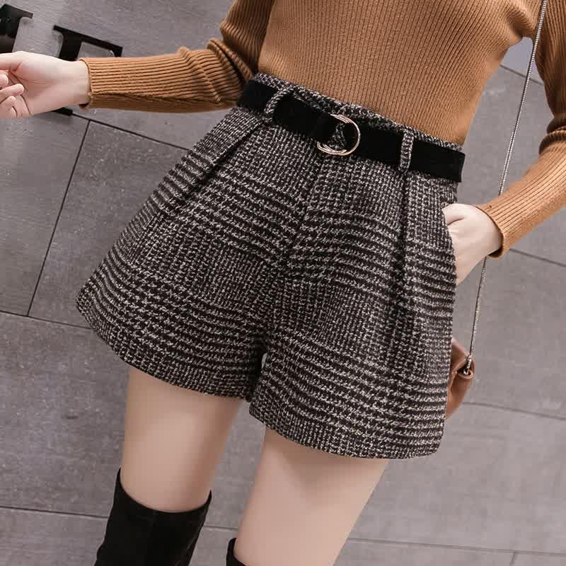 Casual Loose Boots Shorts Korean High Waist Plaid Wide Leg Shorts Femme  Spring Summer Wool Shorts Women