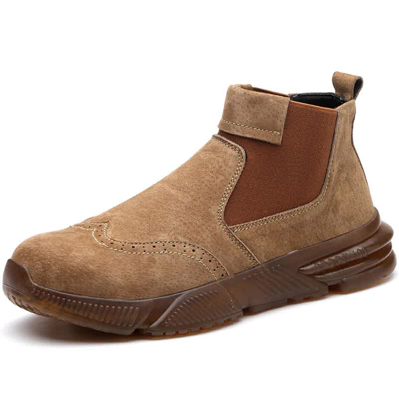New Male Work Shoes Anti-puncture Safety Boots Indestructible Safety Shoes Chelsea Boots Work Welder Shoes Men Steel Toe Shoes