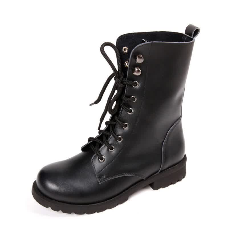 New Motorcycle Boots Lace Up Women Boots Warm Women Shoes Mid-calf Boots Female Winter Shoes For Martin Boots