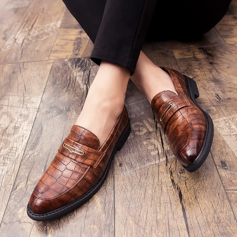 Men Leopard Leather Shoes Men Formal Shoes
