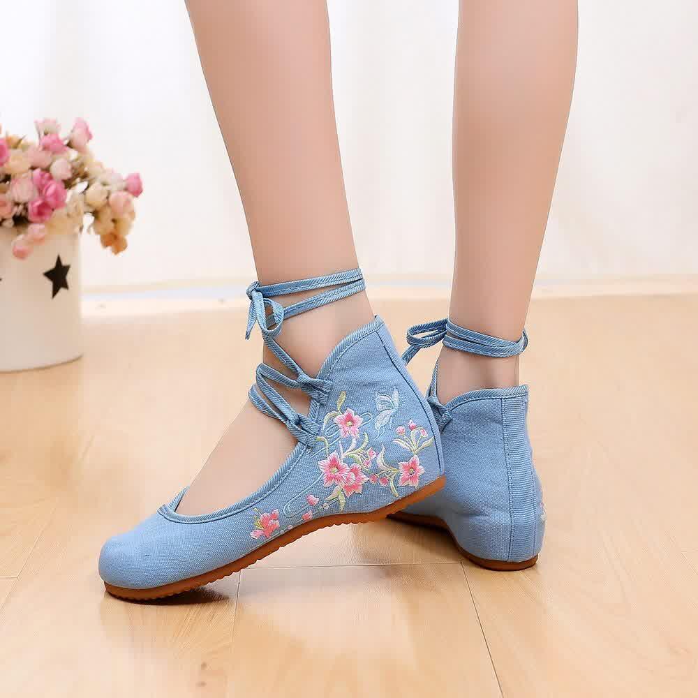 Ankle Strap Women Canvas Embroidered Ballet Flats Ladies Comfortable Cotton Dance Ballerinas Vegan Muslem Shoes