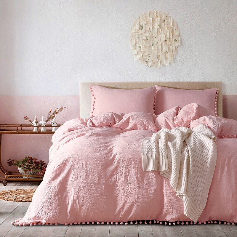 Claroom Solid Color Cute Pink Bedding Set Ball Lace Duvet Cover Set and Pillowcases bed linen Comforter Sets