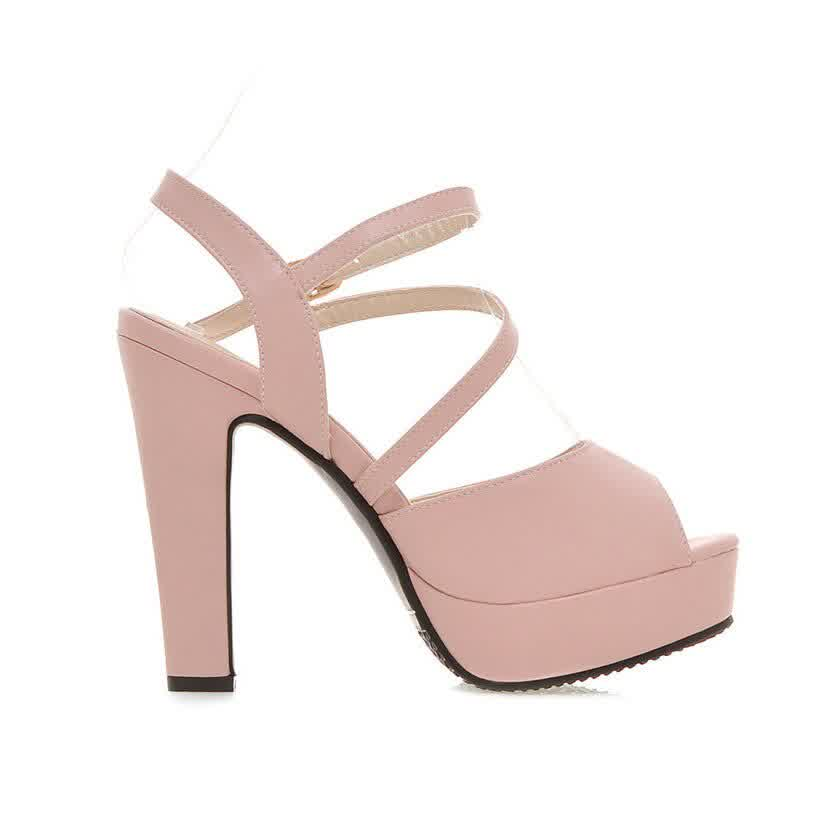 Pink White PU Women Platform High Chunky Heels