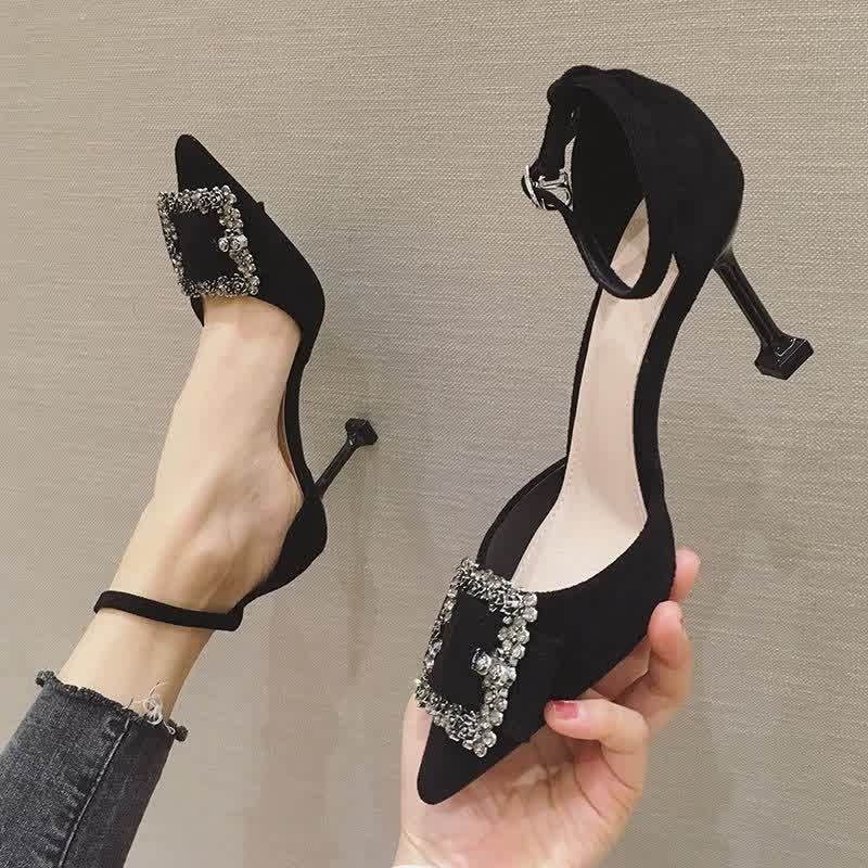 Women fashion black high quality buckle strap stiletto heels for office ladies classic office heels party shoes
