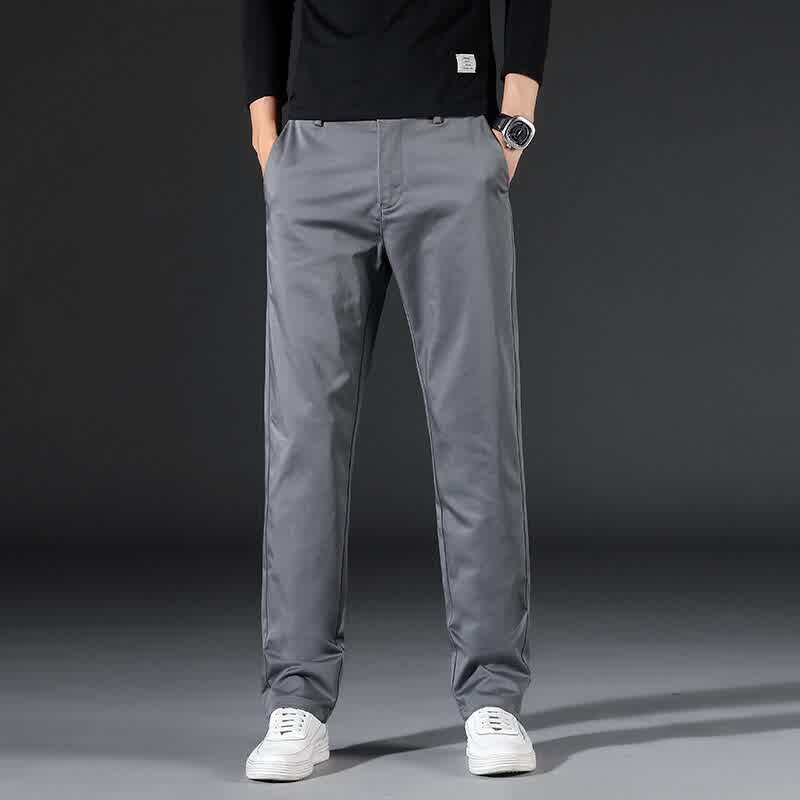 Classic Solid Color Comfortable Cotton Stretch Men's Slim Straight Casual Pants