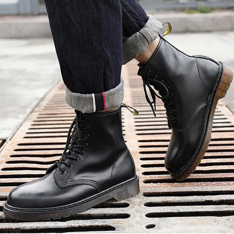 Genuine Leather Men's Boots For Martin Boots Men Plush Warm Winter Boots Men Motorcycle Shoes Ankle Boots Male Plus