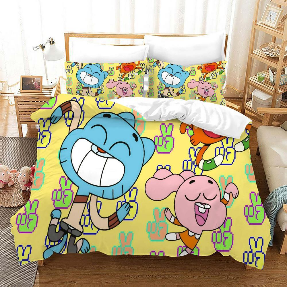 Kawaii Kids Gumball Games Cartoon Duvet Cover Set Queen King Size, Cute Bedding Set for Children,3D Quilt Cover,150 Bed Set