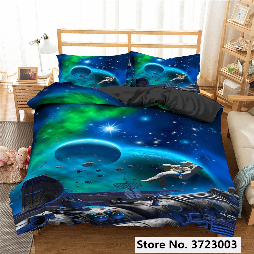 Luxury Planet Bedding Set Super King Duvet Cover Sets 2/3pcs Space Single Queen Size Cotton Comforter Bed Linens Bedding Sets