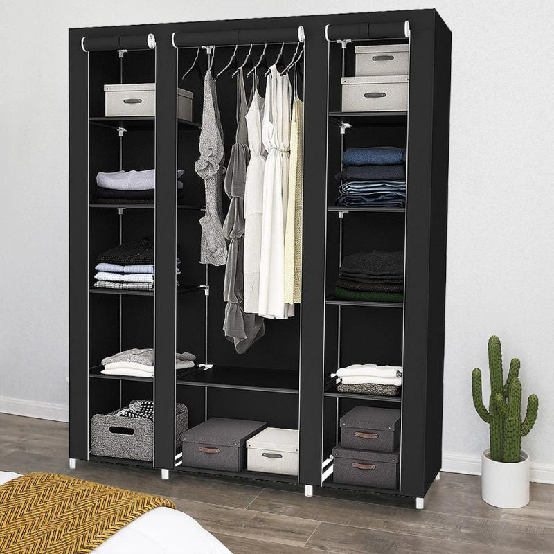 Portable Wardrobe Furniture Storage Cabinet Closet Folding Portable Waterproof Reinforcement Moisture-proof Bedroom Wardrobe HWC