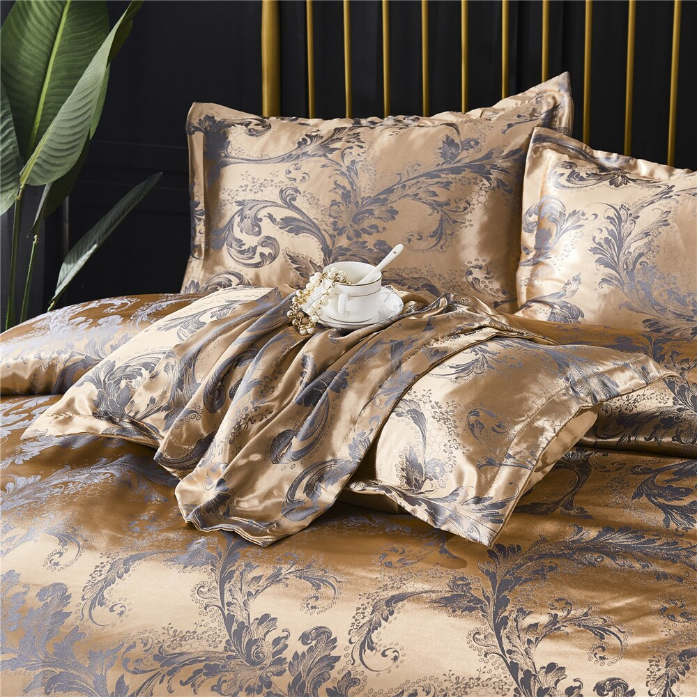 Luxury European Classical Style Duvet Cover Set Satin Jacquard Embroidery Bedding Quilt Cover Pillowcase King Size Comforter Set