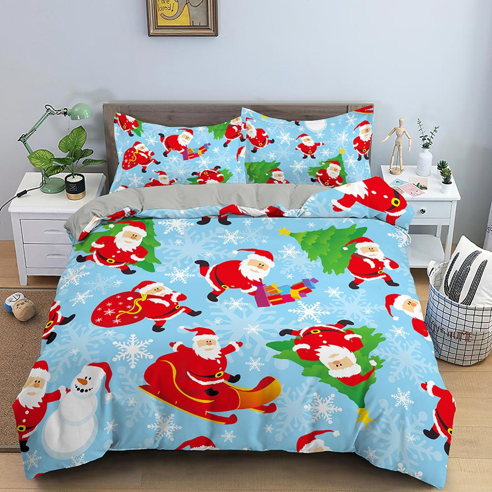Christmas Duvet Cover Set Bedding Sets  with Pillow Covers Double Single Full Twin King Queen Size  for Kids Bedding