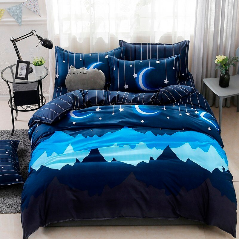 Solstice Simple Blue Diamond Style Plaid Skin-friendly Comfort Soft Bedding Sets Pillowcase Quilt Cover Multiple Sizes Customize