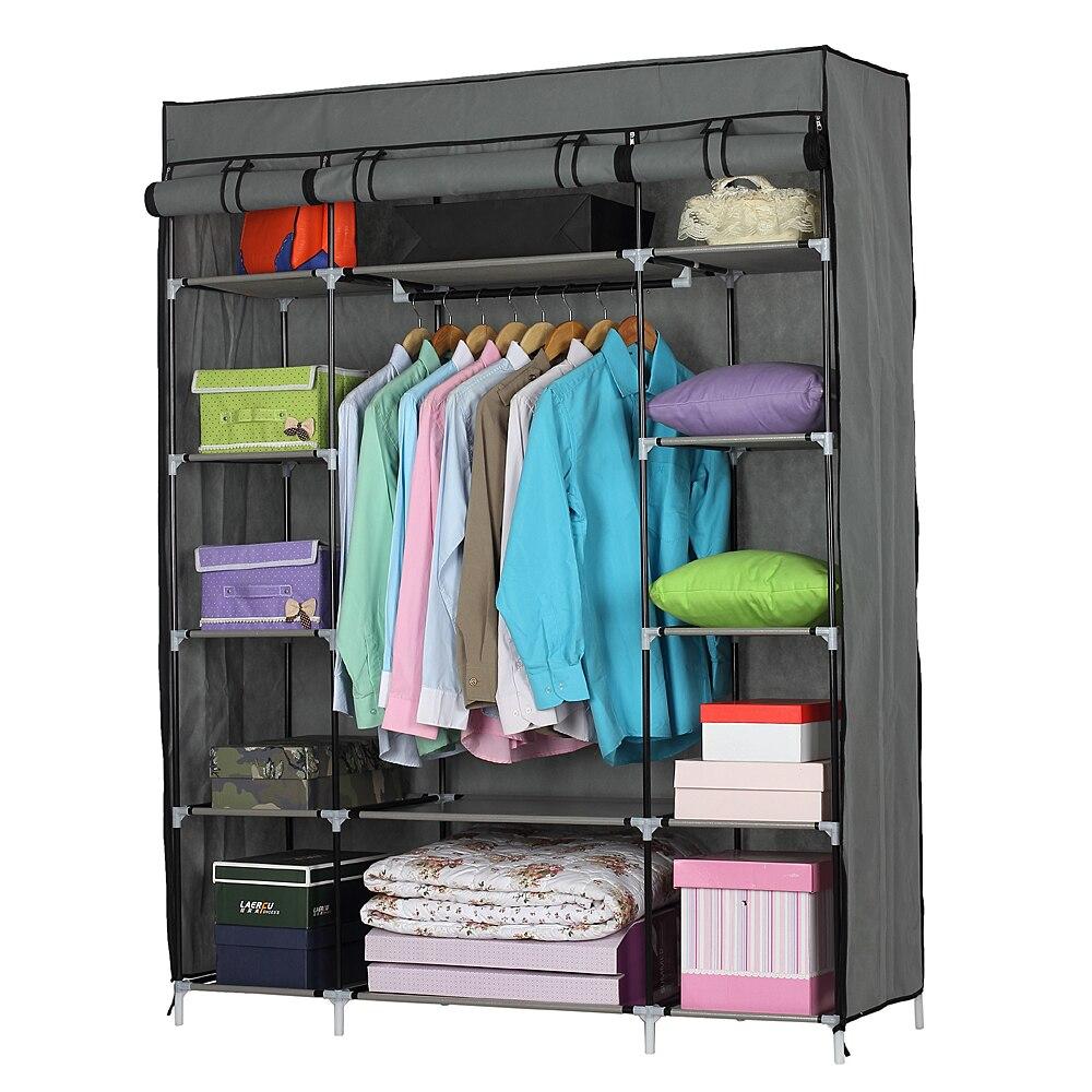5-Layer 12-Compartment Non-woven Fabric Wardrobe Portable Closet Gray/Navy (133x46x170cm)