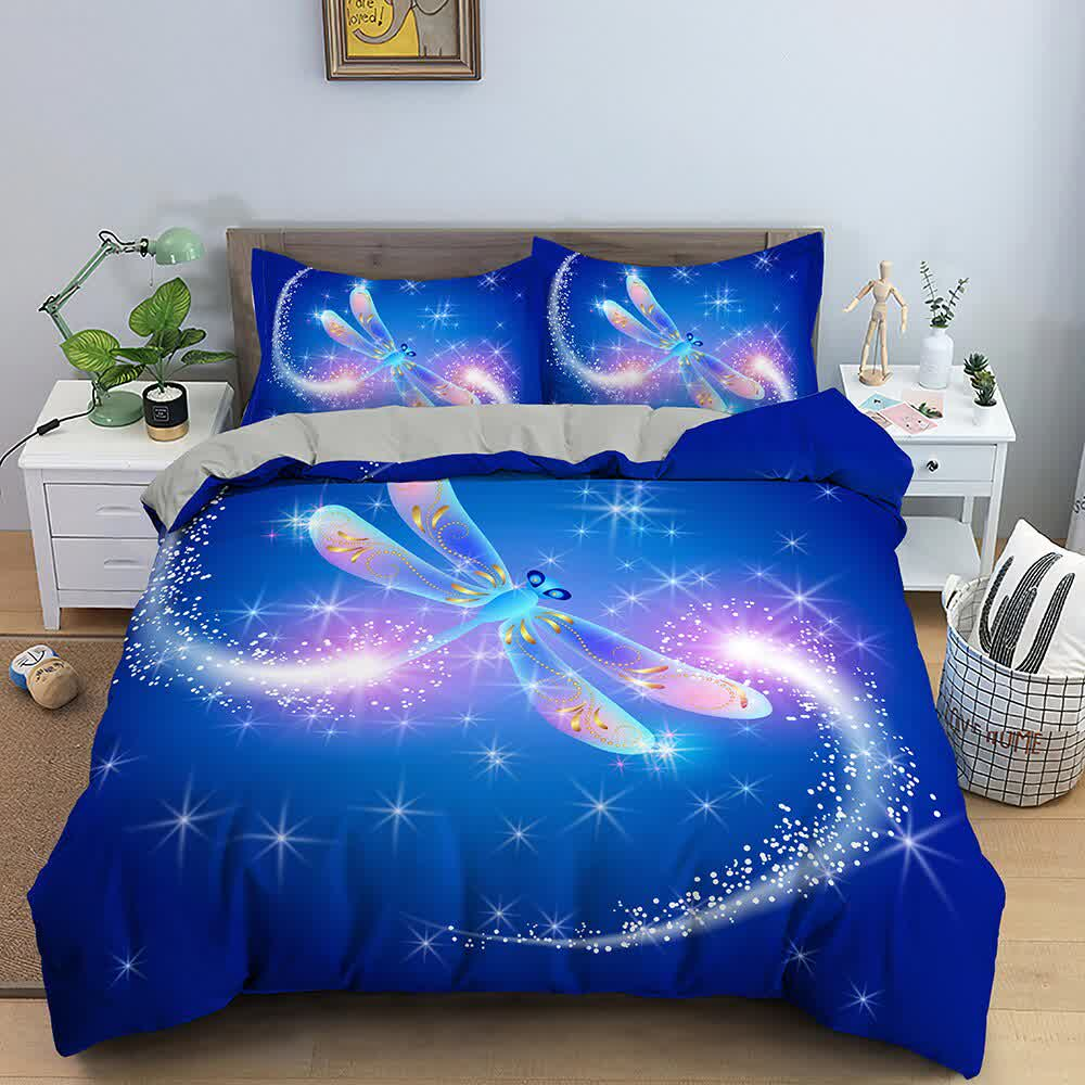 Galaxy Butterfly  Dragonfly Bedding Set Rainbow Bedline Soft Duvet Cover