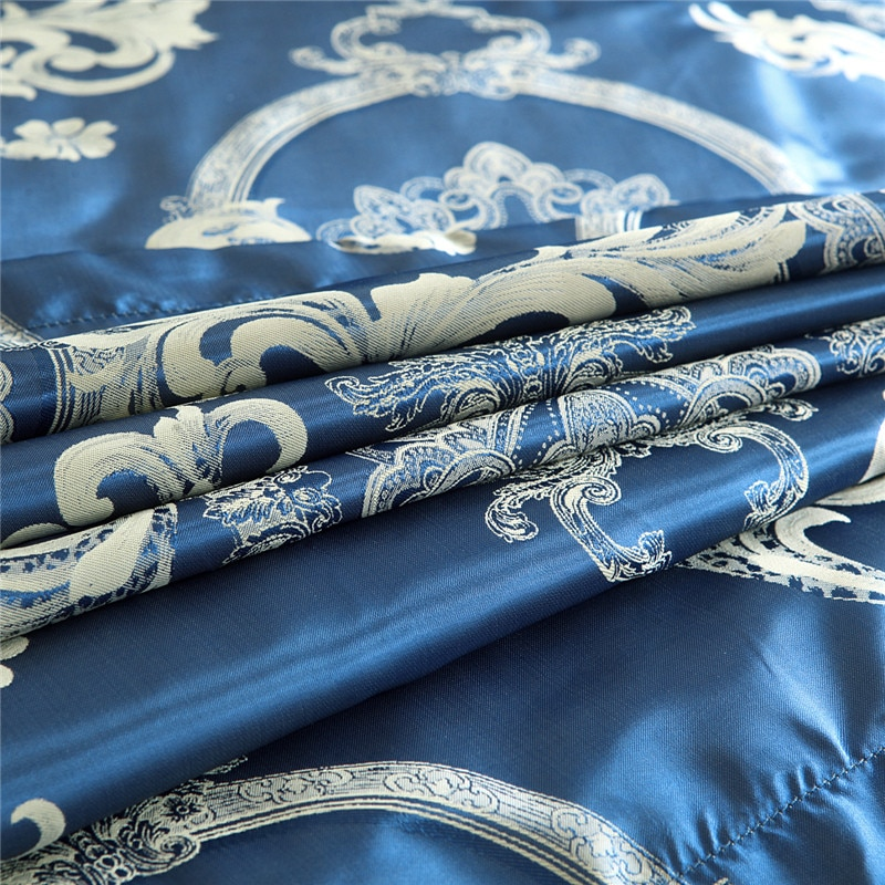 Luxury Bedding Sets Blue Satin Silk Jacquard Bed Set Single Queen King Duvet Cover with Pillowcase Single Bedding Set Luxury