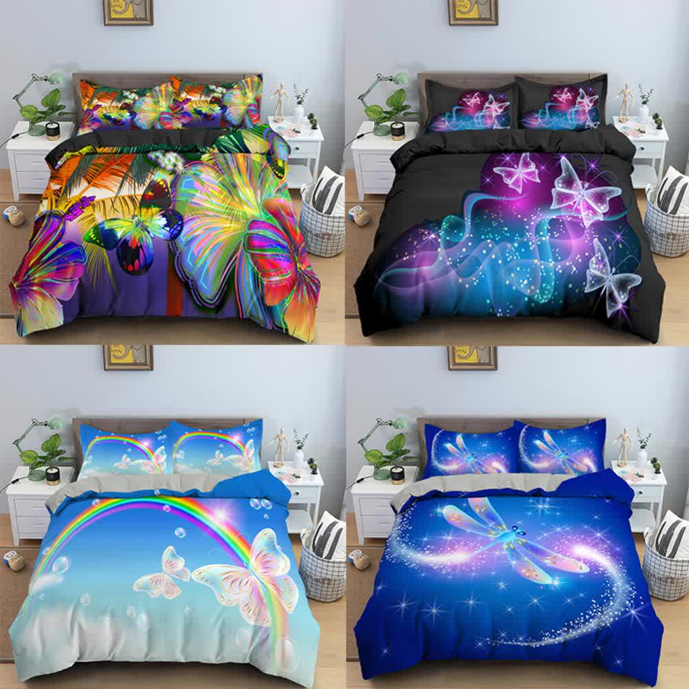 4 pcs Galaxy Butterfly  Dragonfly Bedding Set Rainbow Bedline Soft Duvet Cover for Kids Bedding King /Queen/Full/Twin Size