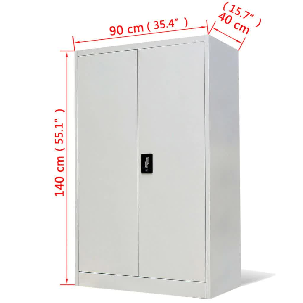 """Steel Office Cabinet With 2 Doors and 3 Adjustable Shelves Organizer 3-point Locking System Office Supplies 35.4""""x15.7""""x55.1"""""""