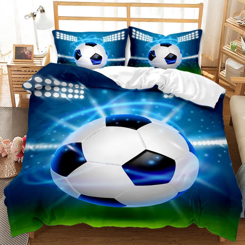 Autumn and winter boys and girls 3D football printing duvet cover 2/3PCS bedding cover
