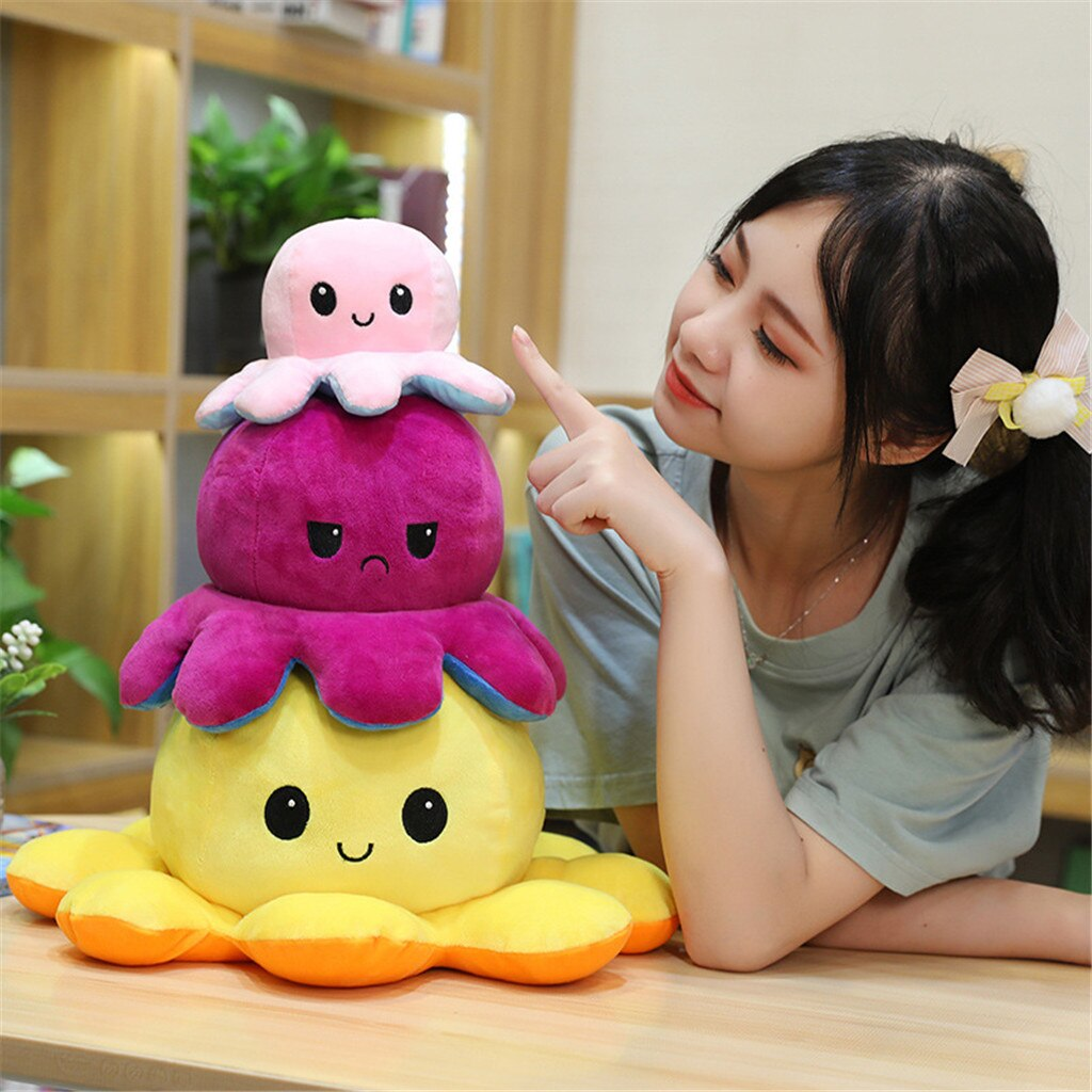 40cm Cute Soft Simulation pulpo Doll Kids Christmas Gift Double-sided Flip Plush Toy Child Birthday present