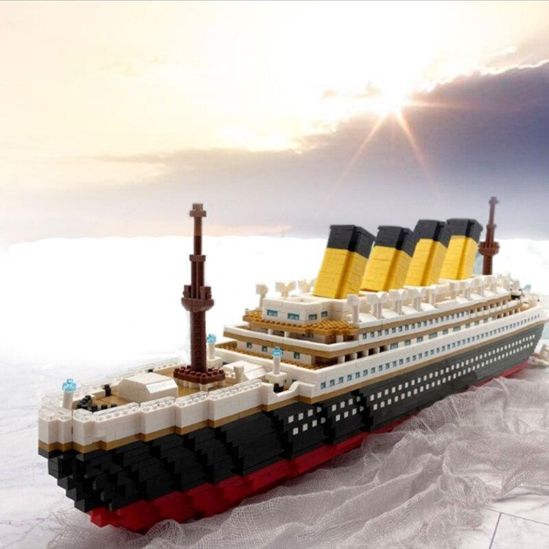 Big Cruise Ship Boat 3D Modle Mini Diamond Blocks Bricks Building Toy for Children no Box