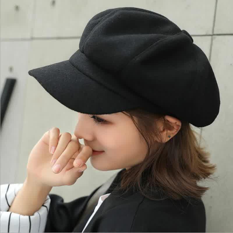 Fashion wild wool Women Beret Autumn Winter Octagonal Cap Hats Stylish Artist Painter Newsboy Caps Black Grey Beret Hats